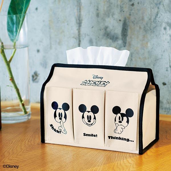 Mickey Mouse[ ミッキーマウス ] 収納ケースにもなる! 6ポケット付きティッシュBOXケース