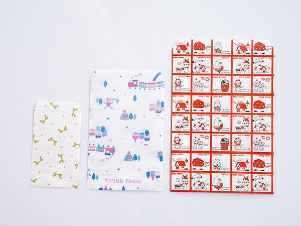 ファンシー紙袋 3種セット(ストップペイル柄、トレイン柄、ニューリボン柄)