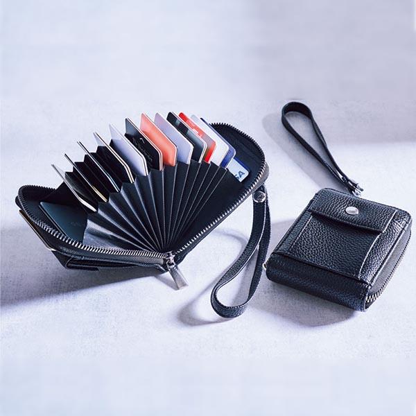 アーバンリサーチの 取り外し可能なストラップ付き! 30枚のカードが入る じゃばら式ミニ財布